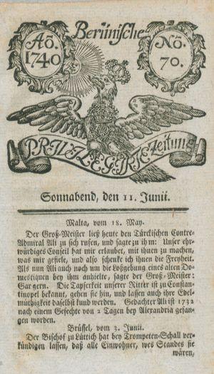 Berlinische privilegirte Zeitung vom 11.06.1740