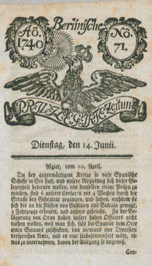Berlinische privilegirte Zeitung vom 14.06.1740