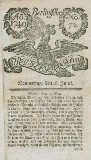 Berlinische privilegirte Zeitung vom 16.06.1740