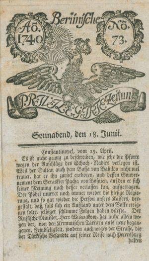 Berlinische privilegirte Zeitung on Jun 18, 1740
