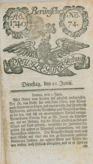 Berlinische privilegirte Zeitung vom 21.06.1740
