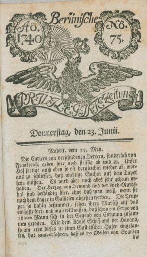 Berlinische privilegirte Zeitung vom 23.06.1740