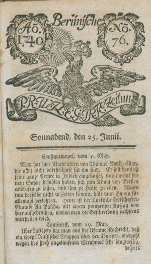 Berlinische privilegirte Zeitung vom 25.06.1740