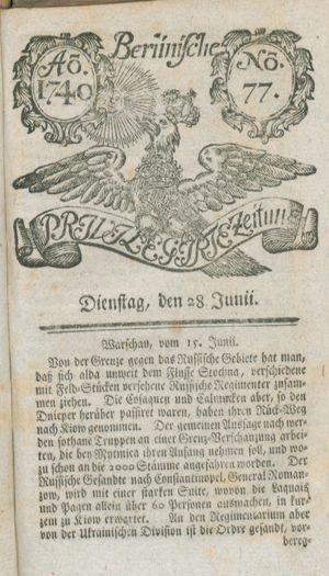 Berlinische privilegirte Zeitung vom 28.06.1740