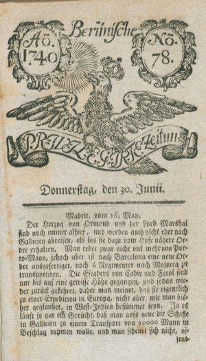 Berlinische privilegirte Zeitung vom 30.06.1740