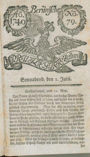 Berlinische privilegirte Zeitung vom 02.07.1740