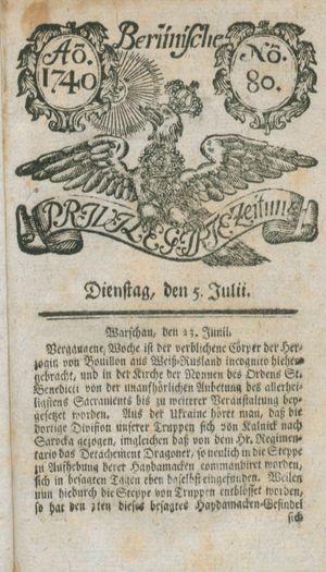 Berlinische privilegirte Zeitung vom 05.07.1740