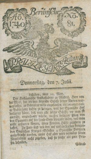 Berlinische privilegirte Zeitung vom 07.07.1740