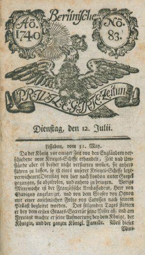 Berlinische privilegirte Zeitung vom 12.07.1740