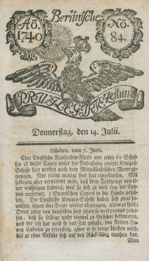 Berlinische privilegirte Zeitung vom 14.07.1740