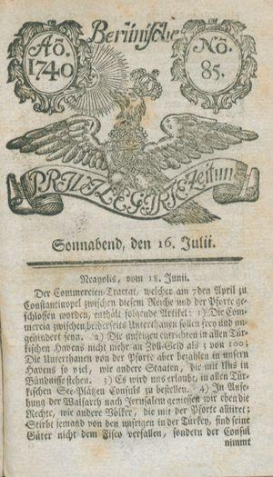 Berlinische privilegirte Zeitung vom 16.07.1740