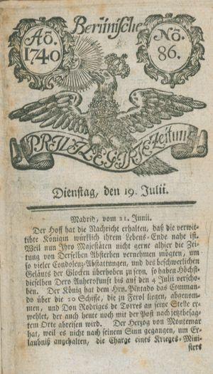 Berlinische privilegirte Zeitung vom 19.07.1740