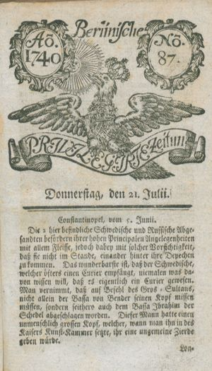 Berlinische privilegirte Zeitung vom 21.07.1740