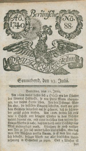 Berlinische privilegirte Zeitung vom 23.07.1740