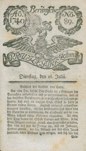Berlinische privilegirte Zeitung vom 26.07.1740