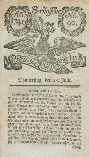 Berlinische privilegirte Zeitung vom 28.07.1740
