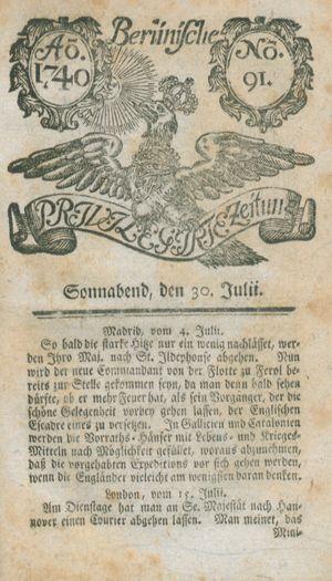 Berlinische privilegirte Zeitung vom 30.07.1740