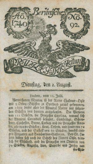 Berlinische privilegirte Zeitung vom 02.08.1740