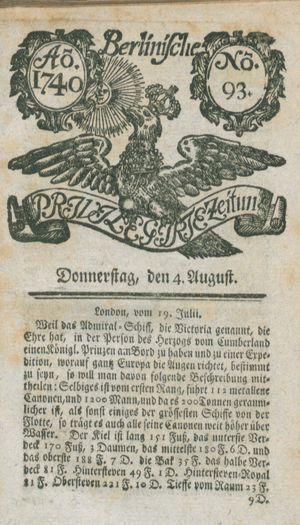 Berlinische privilegirte Zeitung vom 04.08.1740