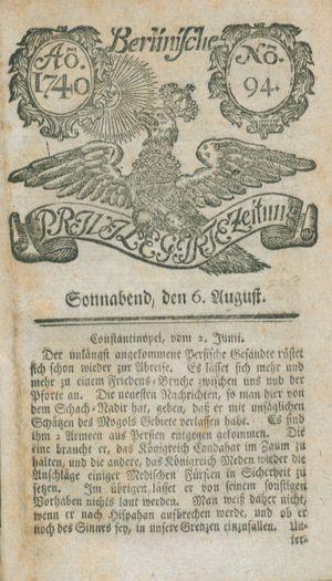 Berlinische privilegirte Zeitung vom 06.08.1740
