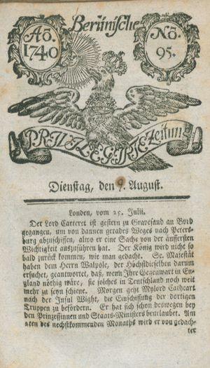 Berlinische privilegirte Zeitung vom 09.08.1740