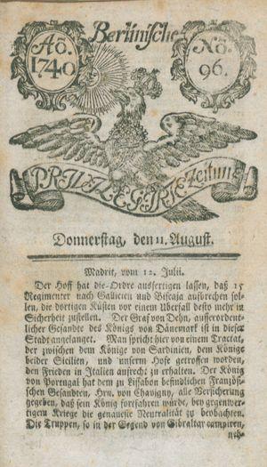Berlinische privilegirte Zeitung vom 11.08.1740