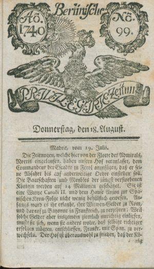 Berlinische privilegirte Zeitung vom 18.08.1740