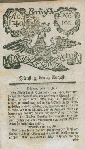 Berlinische privilegirte Zeitung vom 23.08.1740