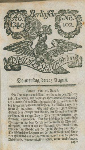 Berlinische privilegirte Zeitung vom 25.08.1740