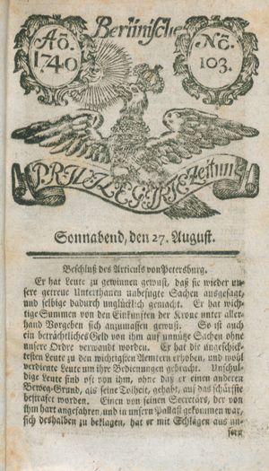 Berlinische privilegirte Zeitung vom 27.08.1740
