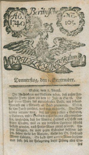 Berlinische privilegirte Zeitung vom 01.09.1740
