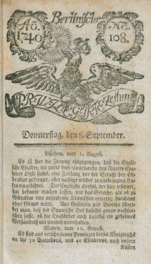 Berlinische privilegirte Zeitung on Sep 8, 1740