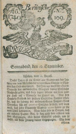 Berlinische privilegirte Zeitung vom 10.09.1740