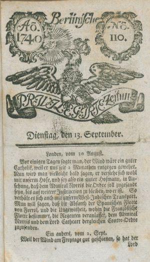 Berlinische privilegirte Zeitung vom 13.09.1740