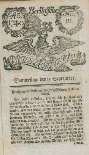 Berlinische privilegirte Zeitung vom 15.09.1740