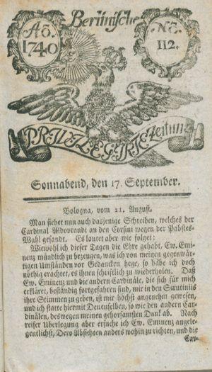 Berlinische privilegirte Zeitung on Sep 17, 1740