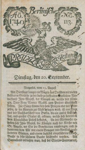 Berlinische privilegirte Zeitung vom 20.09.1740