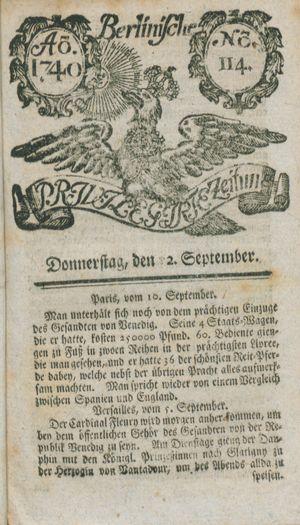 Berlinische privilegirte Zeitung vom 22.09.1740