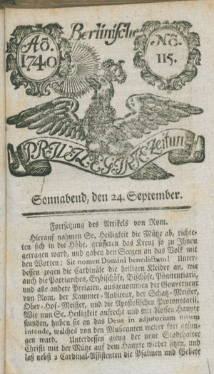 Berlinische privilegirte Zeitung vom 24.09.1740