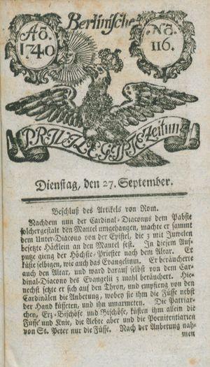 Berlinische privilegirte Zeitung vom 27.09.1740