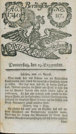 Berlinische privilegirte Zeitung vom 29.09.1740