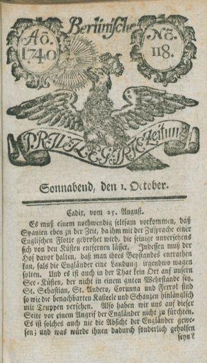 Berlinische privilegirte Zeitung vom 01.10.1740