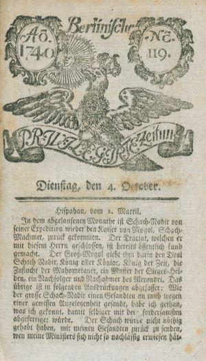 Berlinische privilegirte Zeitung vom 04.10.1740