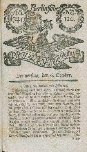 Berlinische privilegirte Zeitung vom 06.10.1740