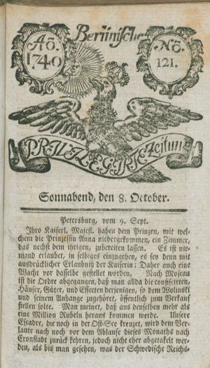 Berlinische privilegirte Zeitung vom 08.10.1740