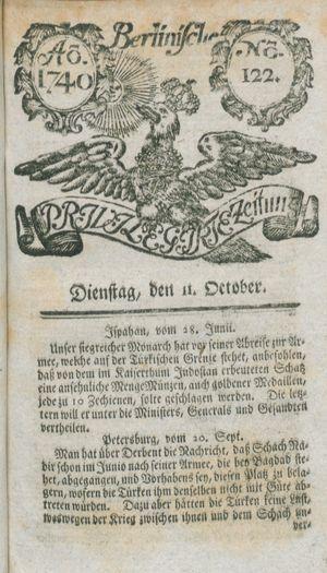 Berlinische privilegirte Zeitung on Oct 11, 1740
