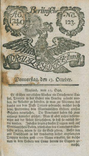 Berlinische privilegirte Zeitung vom 13.10.1740
