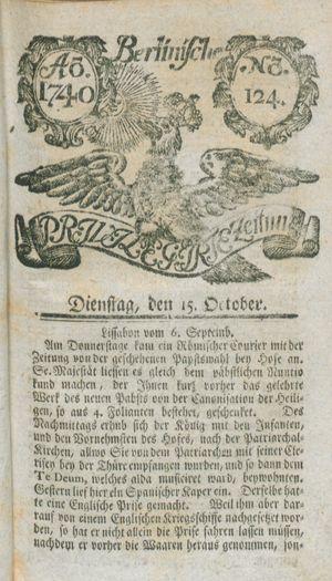 Berlinische privilegirte Zeitung vom 15.10.1740