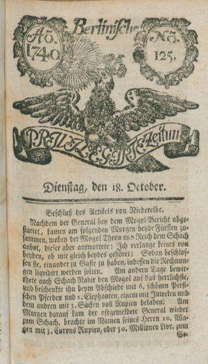 Berlinische privilegirte Zeitung vom 18.10.1740