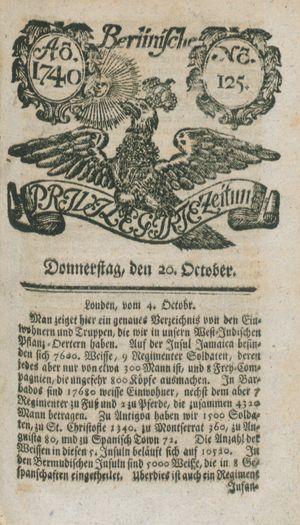 Berlinische privilegirte Zeitung vom 20.10.1740